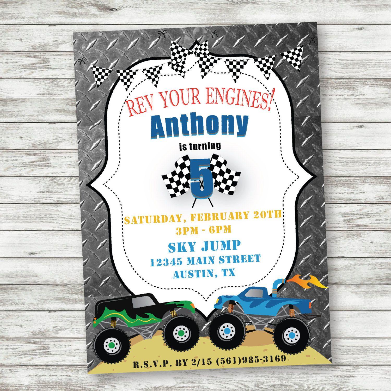 Monster Truck Birthday Invitations, Grave Digger Invitations
