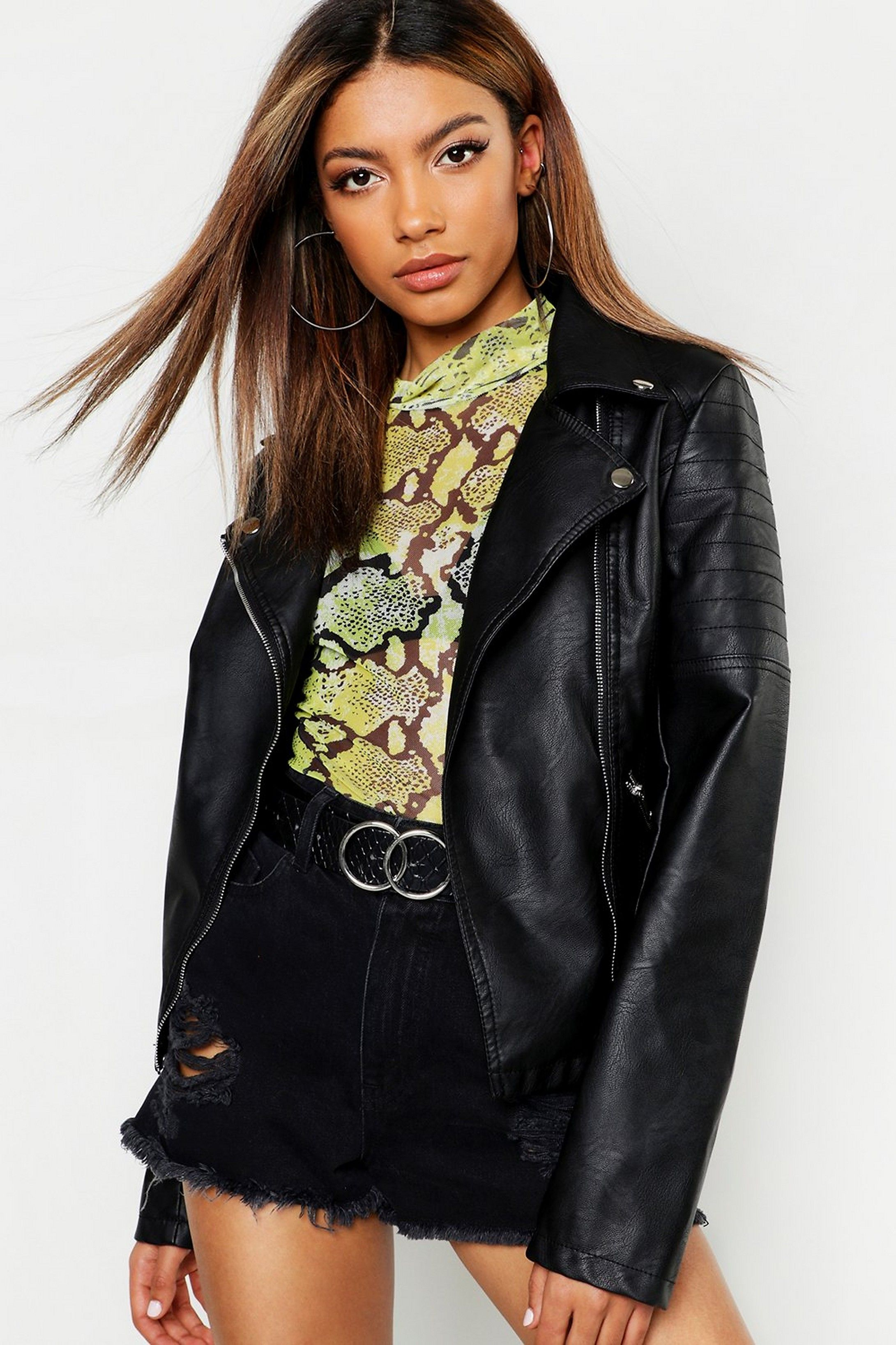 Faux Leather Biker Jacket boohoo Jackets, Faux fur
