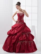 Gorgeous Burgundy Strapless Beading Taffeta Ball Gown