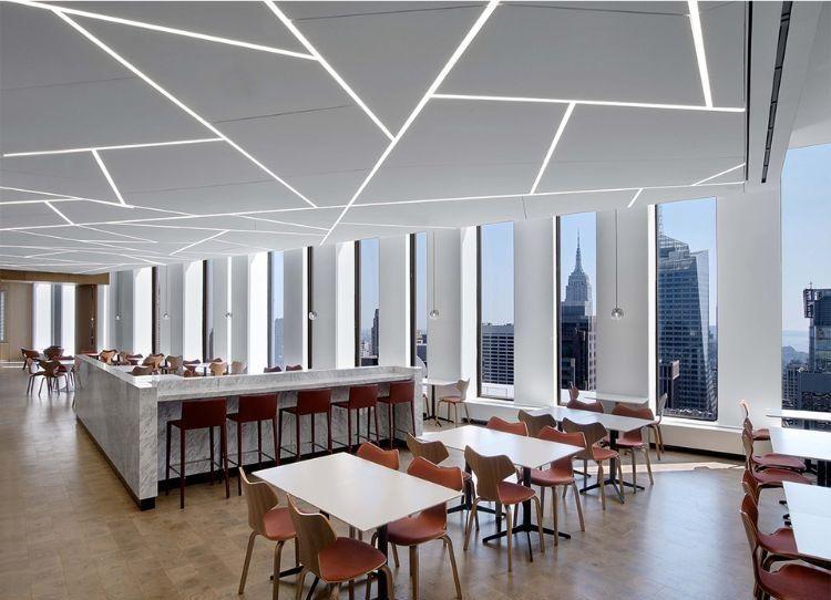 akustik deckensegel modern deckengestaltung büroraum led