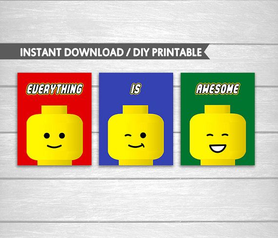 Instant Download Printable Set of 3 Lego Everything Is Awesome Red ...