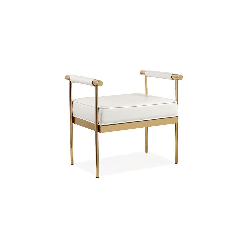 Susan white ecoleather bench glamour decor golden decoration