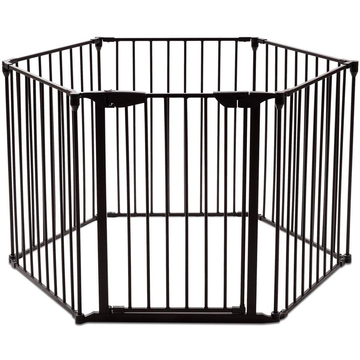 Petsjoy 6 Panels Baby Safety Gate 5in1 Fireplace Fence Wide