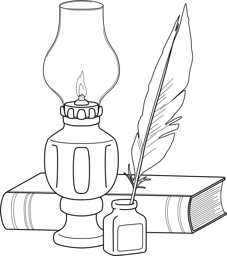 Lamp And Quill Coloring Pages Embroidery Embroidery Patterns