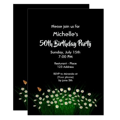 50th birthday party invitation black white daisies birthday cards 50th birthday party invitation black white daisies birthday cards invitations party diy personalize customize celebration filmwisefo Gallery