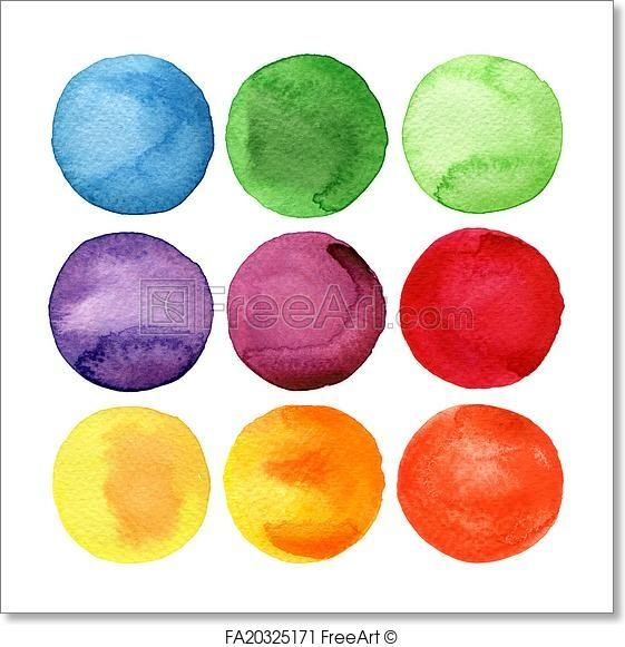 Free Art Print Of Watercolor Hand Painted Circles Collection