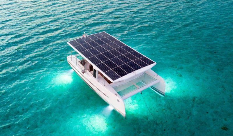 Tesla Of The Sea Soelcat 12 Is A Solar Powered Electric Catamaran American Luxury Solar Panels Solar Solar Electric