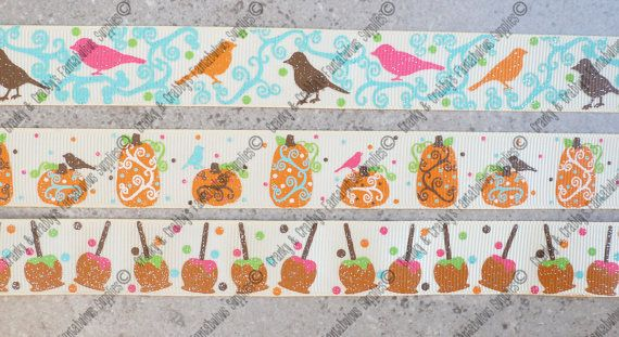 Perfect for all your Autumn creations  7/8 Grosgrain Ribbon Printed on Cream grosgrain    Collection: PDRS Autumn Whimsey      Choose from