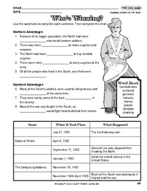 Worksheet: The Civil War | Civil War | Pinterest