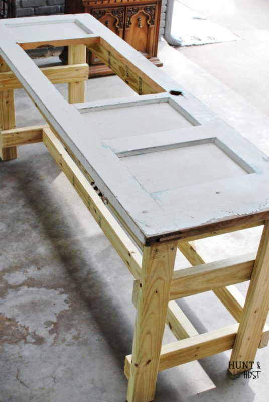 how to turn an old door into a table by hunt and host