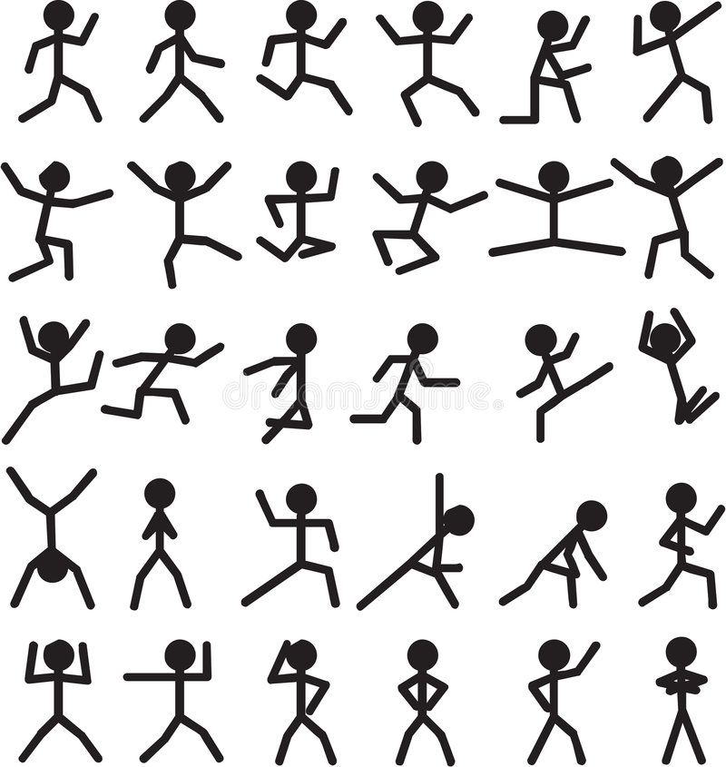 Illustration About Stick Man Figures In Different Motions Positions Actions And Movements Illust Stick Figure Drawing Flip Book Animation Stick Men Drawings