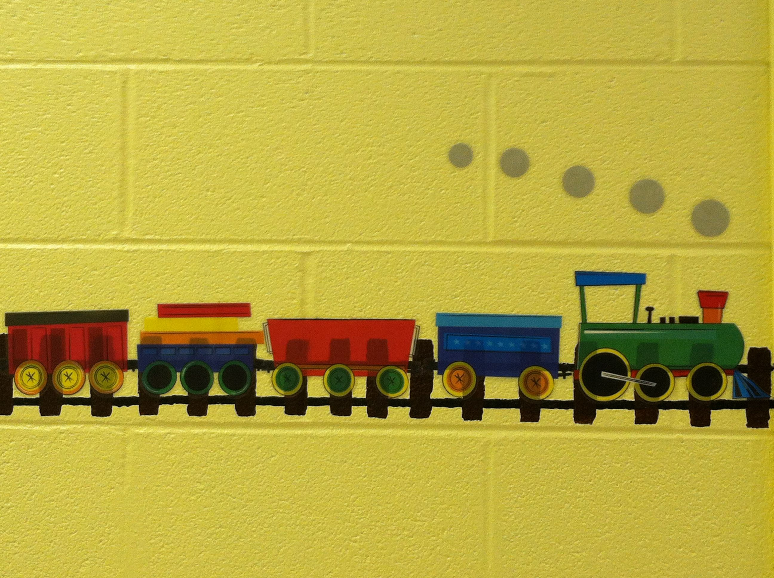 Train wall stickers from Target are super cute on the train track ...
