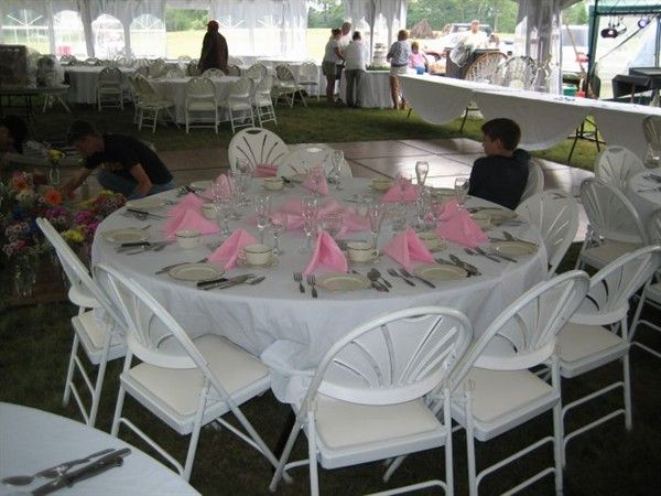 Seen in Photo: 120 White Tablecloth / 72 Round Table ...