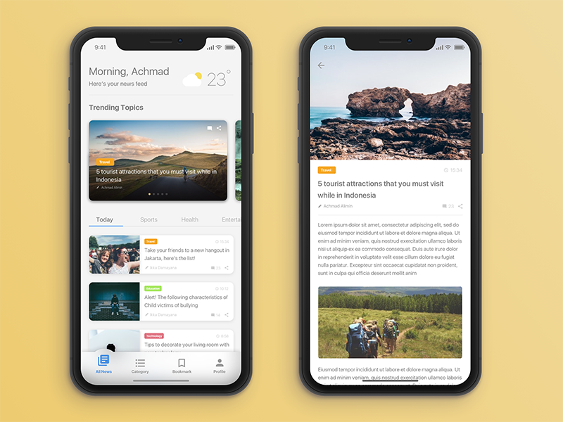 News App Personalization | Ui - Personalize | Ios app design
