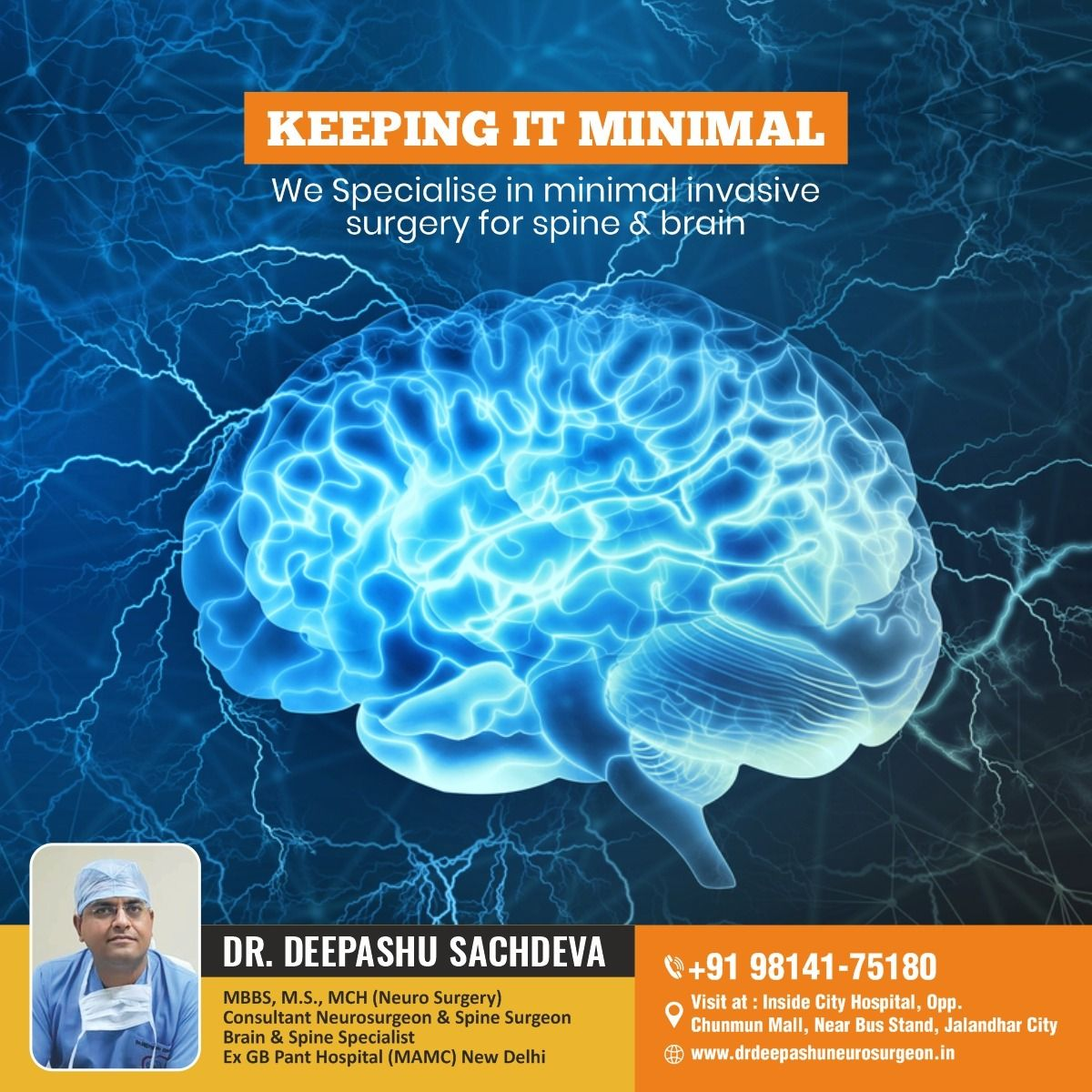 We Specialise in Minimal Invasive Surgery for Brain & Spine. Get An Appointment with... 𝗗𝗿. 𝗗𝗲𝗲𝗽𝗮𝘀𝗵𝘂...