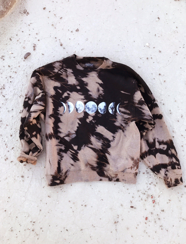 Tie Dye Sweatshirt Moon Phase Bleach Out Oversized Sweatshirt Black And Tan Sweater Size M 2xl Tie Dye Sweatshirt Black Sweatshirts Tie Dye [ 3000 x 2287 Pixel ]