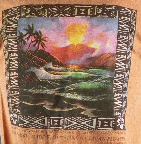 Red Dirt Hawaii Edgardo Garcia Erupting Volcano Shirt Medium 100 Pure Hawaiian | eBay