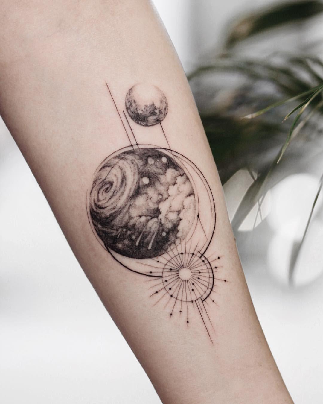 Geometric Space Tattoo : geometric, space, tattoo, Space, Geometry, Couple, Tattoos, Unique,, Geometric, Tattoo,