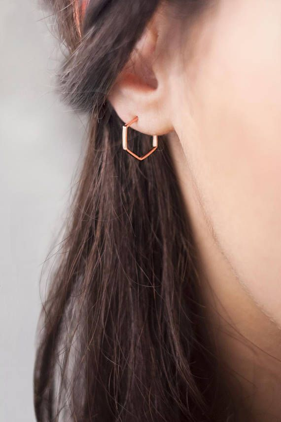 Photo of Small Hexagon Gold Hoop Earrings, Small Geometric Hoop Earrings, 9K 14K 18K Gold Earrings, Rose Gold, Everyday Minimalist Earrings, Gift For Her