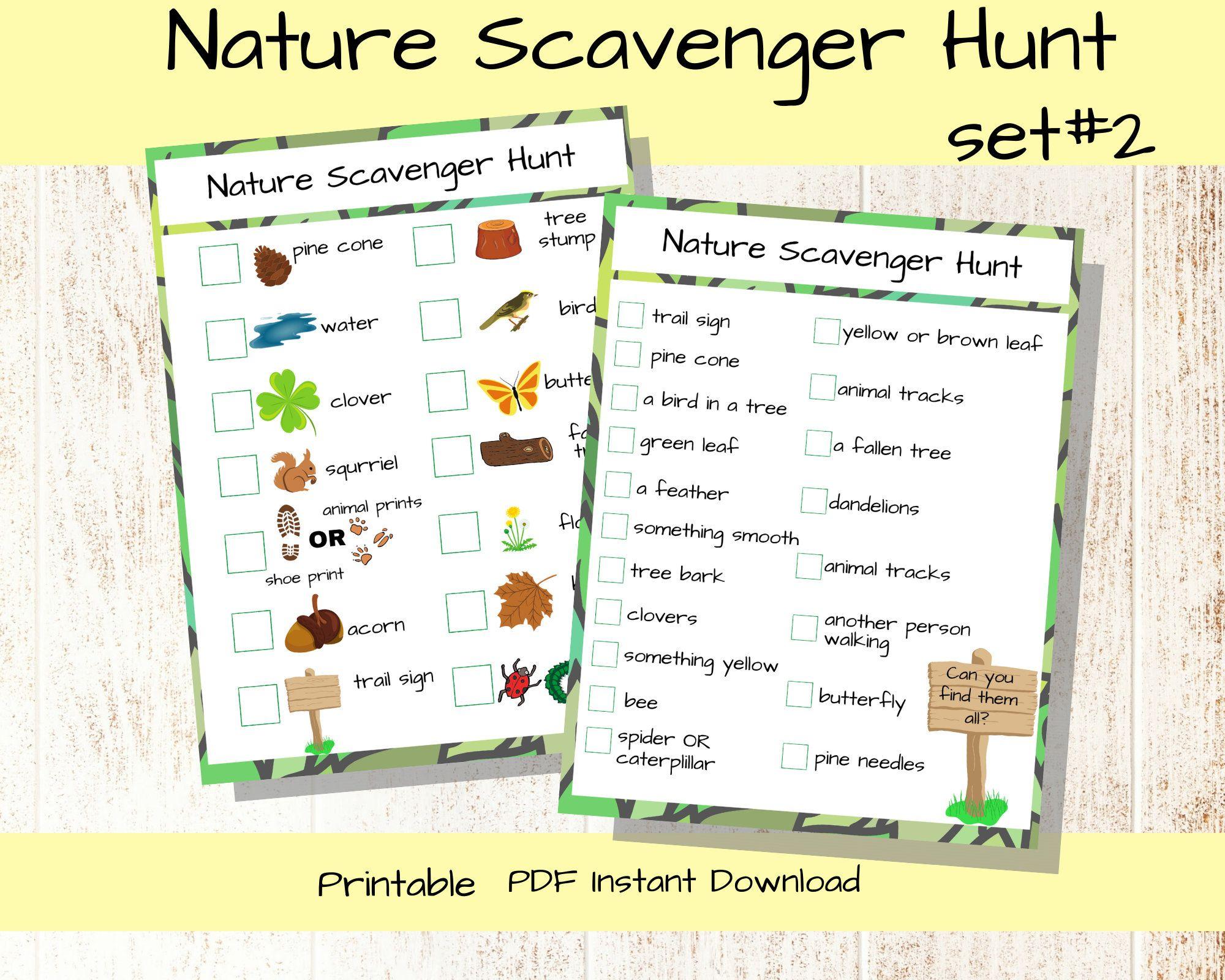 Nature Scavenger Hunt Printable Older Kids Activity
