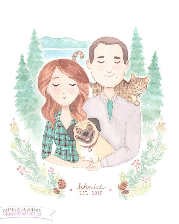 Custom Couples Portrait Illustration Original by PamelaGoodmanArt
