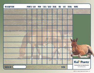 Horses Behavior Chart For Kids  New Behavior And Chore Charts