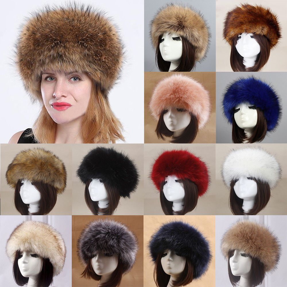 b712d4950 Women Thick Fluffy Russian Cap Lady Faux Fur Headband Hat Winter ...