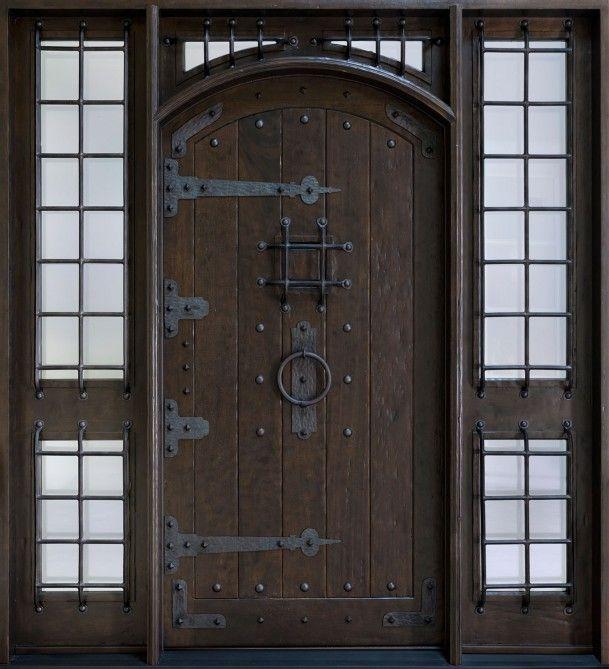 Inspiration Elegant Steel Entry Doors Home Decoration Breathtaking Collosal Meval Castle Gate In Dark Oak Finish And Black Cast Iron