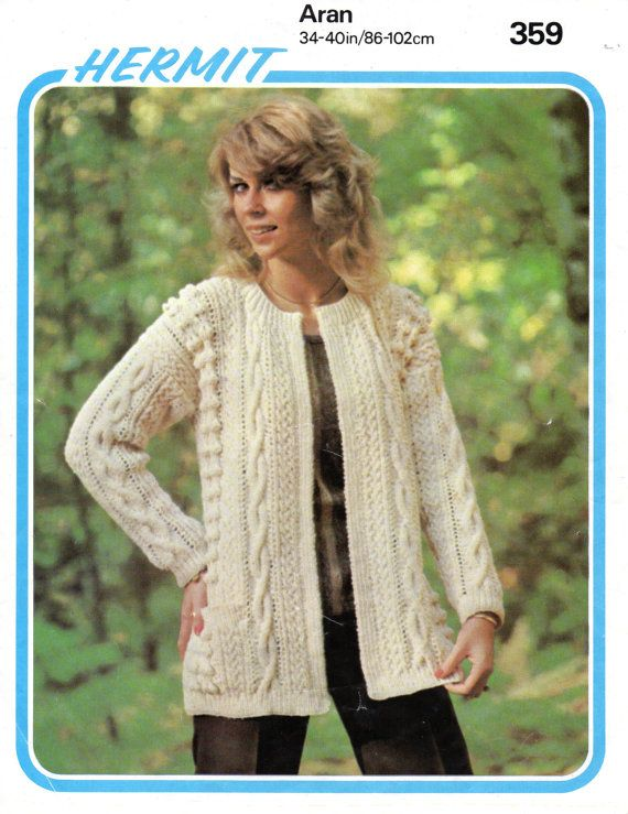 Ladies Long Line Aran Jacket/Coat Instant by NostalgiaPatterns