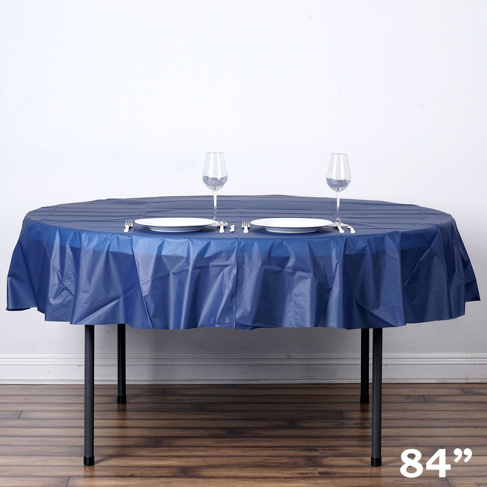 """84"""" Navy Blue Crushed Design Plastic Round Tablecloth"""