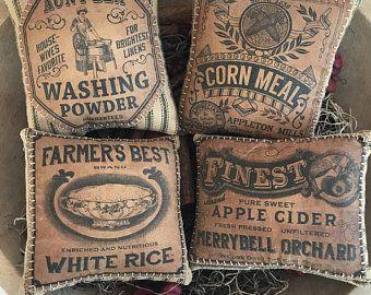 Photo of Vintage Country Primitive Pantry Labels, Digital Printable Kitchen Labels, Prim Clipart, Kitchen Decor, Vintage Style Prints