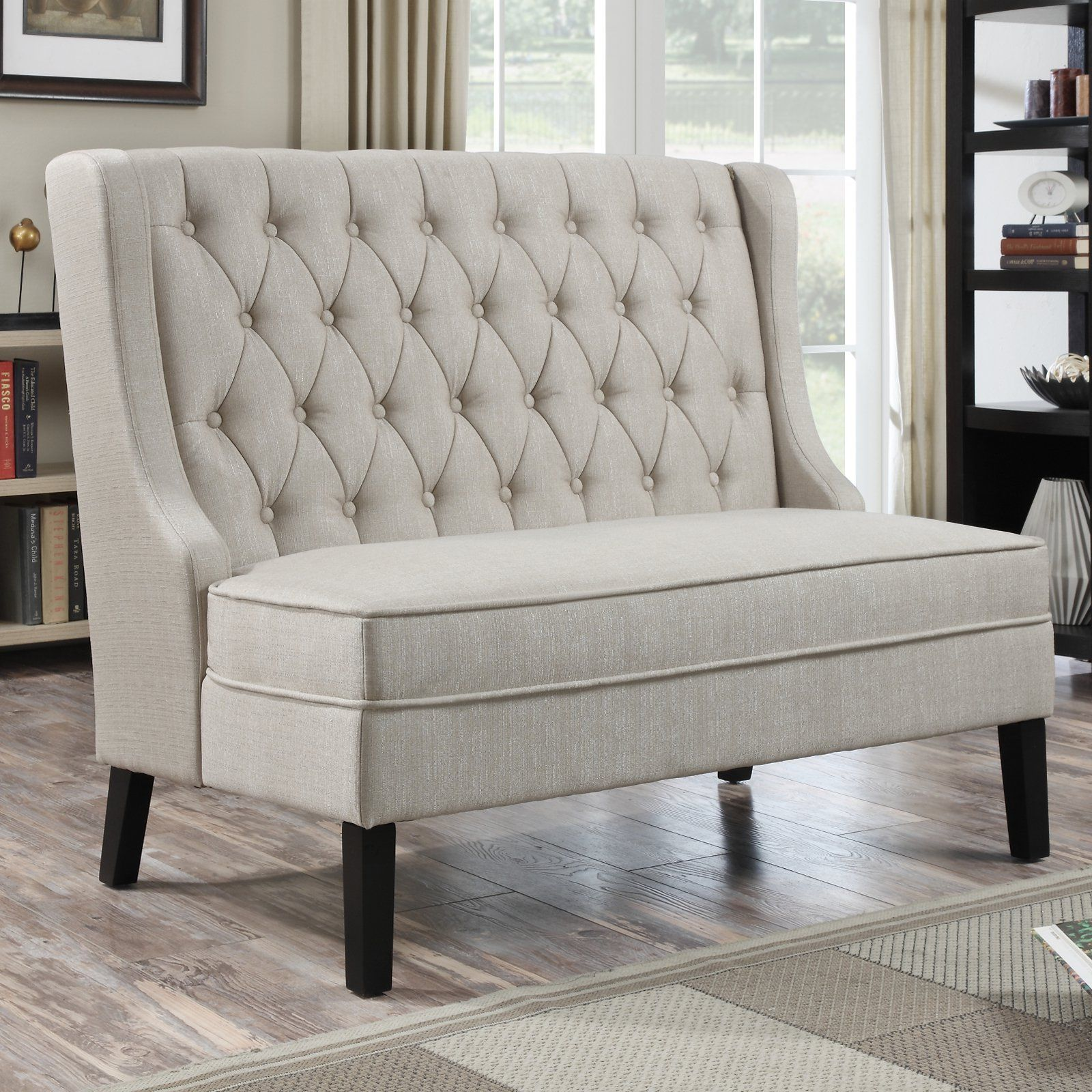 Home Meridian Banquette Bench Tuxedo Oatmeal DS2187