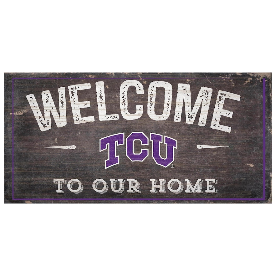 Tcu Horned Frogs Welcome Sign Wall Art Wall Signs Tcu Horned Frogs Fan Creations