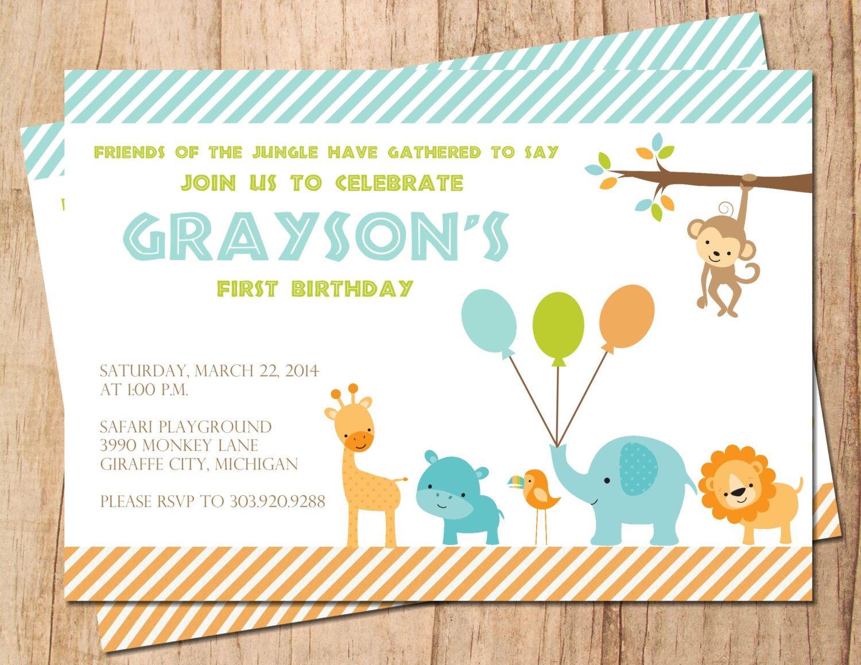 Jungle Safari Birthday Invite . 1st 2nd 3rd 4th Birthday . Printable ...