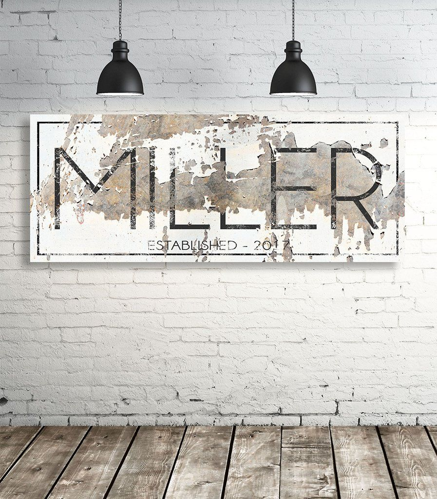Modern last name sign personalized family name wall art