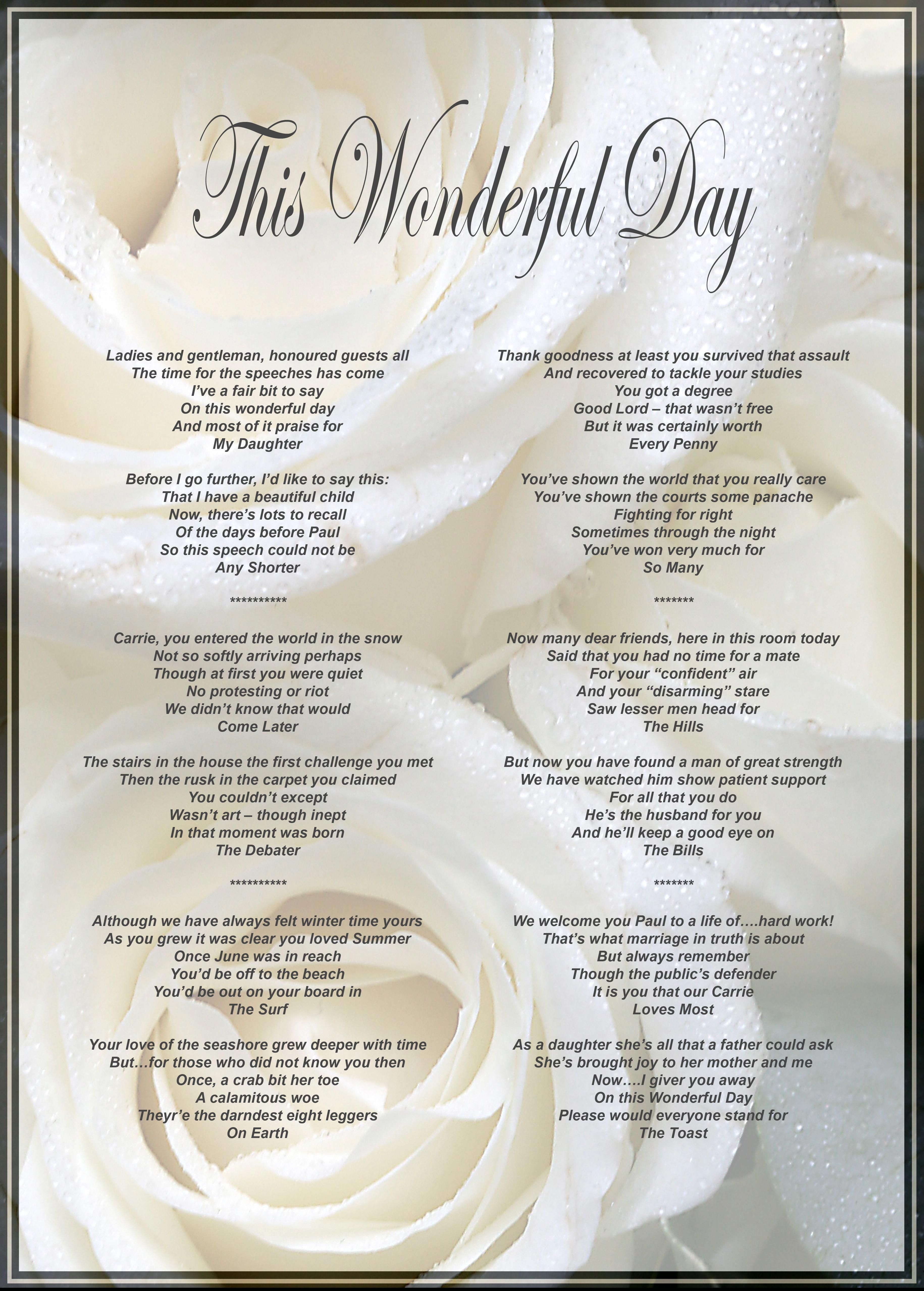 Father Of The Bride S Speech Can Be Framed Or Presented As A Boxed Scroll Fatherofthebridespeech Wedding Speech Bride Speech Best Man Wedding Speeches