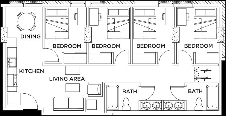 4 Bed 2 Bath Floor Plans Sims 4 House Design Dorm Layout