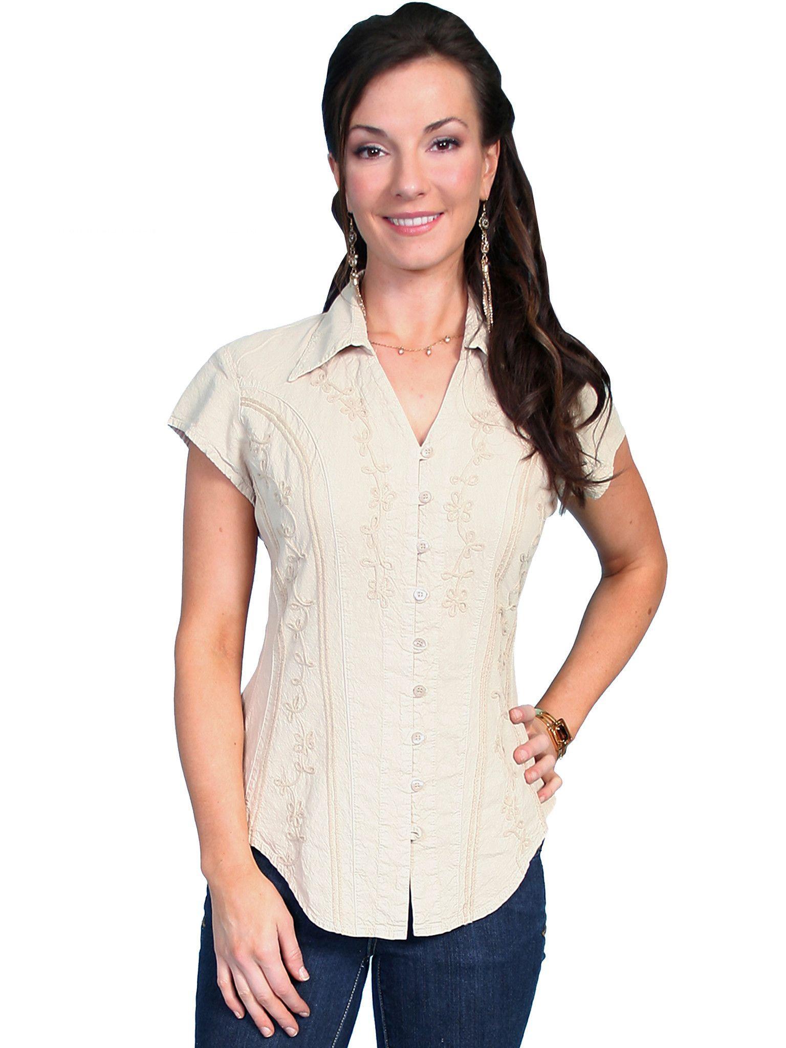 89aab55657c3 Scully Cantina Womens Khaki 100% Cotton Cap Sleeve Vine Blouse ...