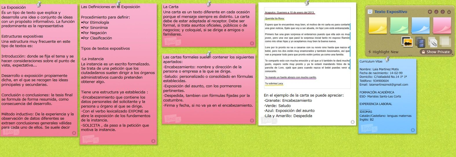 Texto Expositivo, La Carta y el Curriculum Vitae   Tipología Textual ...