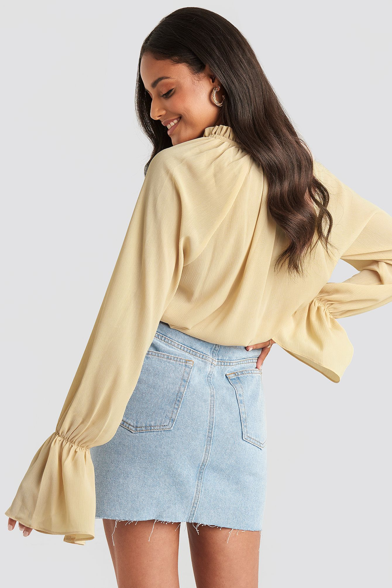 Photo of Deep V-Neck Flare Cuff Blouse