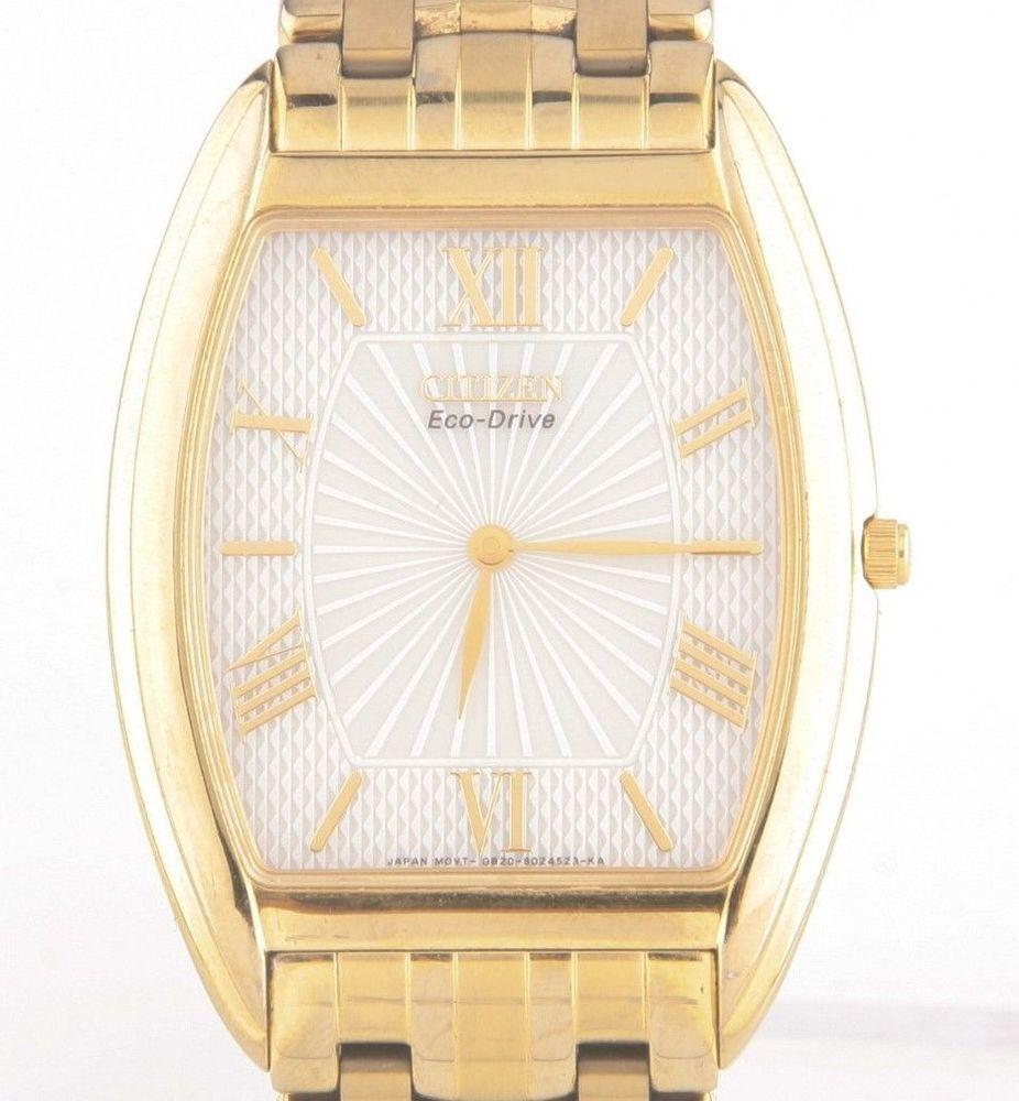 Citizen Men S Gold Plated Stiletto Eco Drive Quartz Watch