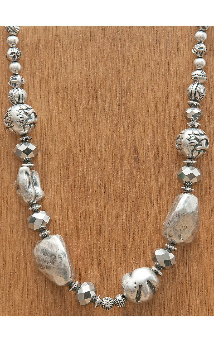 M Western Products Silver Rock And Metallic Beaded Necklace