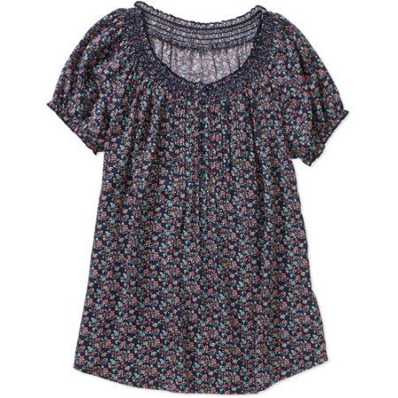 Faded Glory Women's Short Sleeve Peasant Top, Multicolor