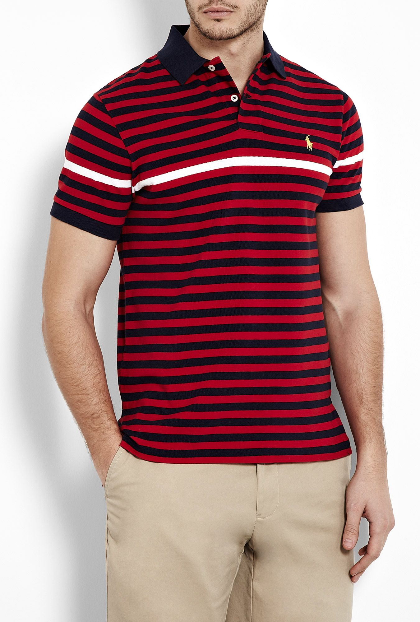 Navy Red White Stripe Polo Shirt by Polo Ralph Lauren