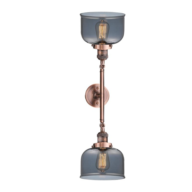 """Photo of Innovations Lighting 208L Large Bell Large Bell 2 Light 23 """"Wide Bathroom Vanity Antique Copper / Plated Smoked Indoor Lighting Bathroom Fixtures"""