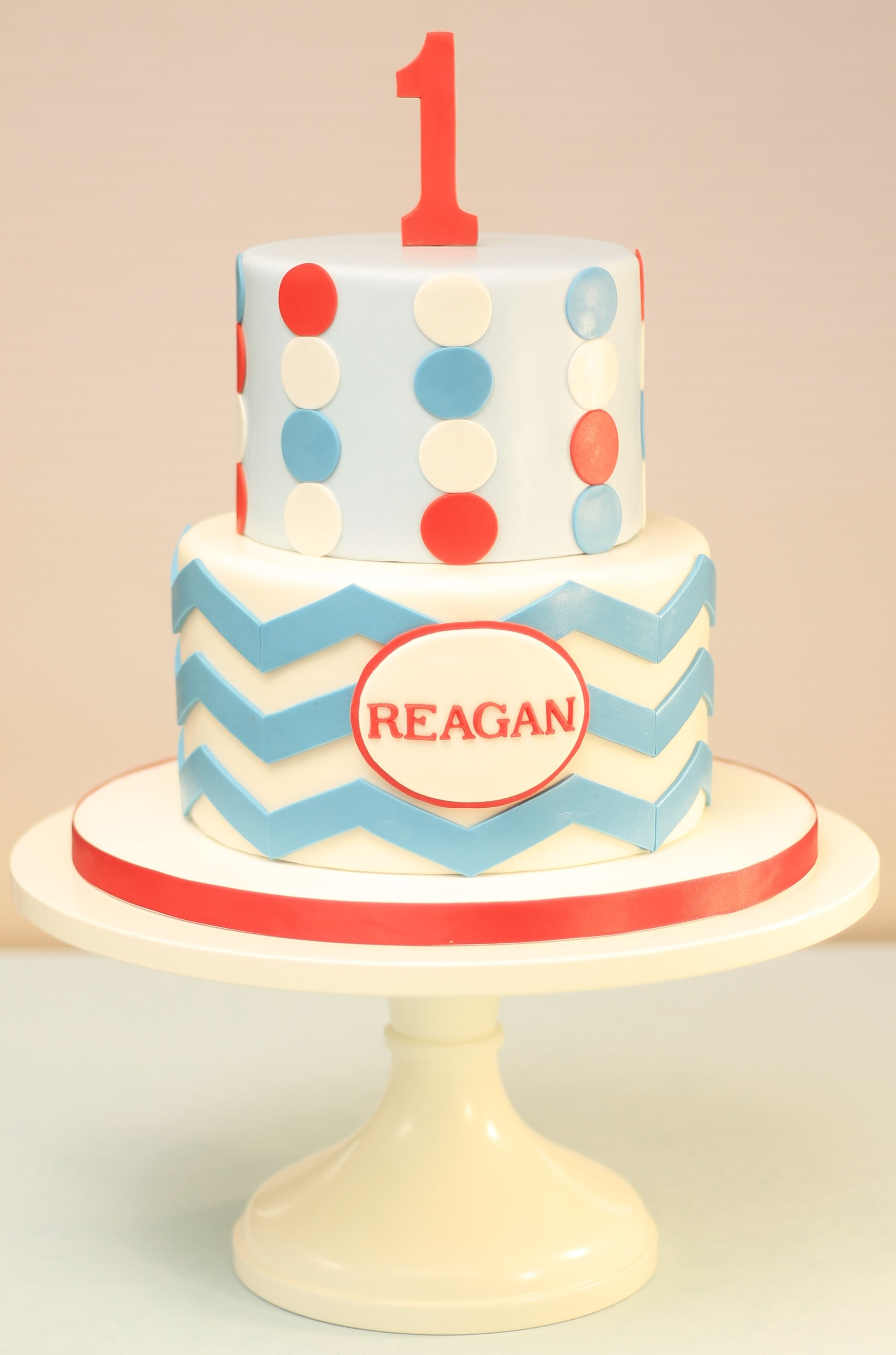 Two Tier First Birthday Cake With Chevron Pattern And Polka Dotsa