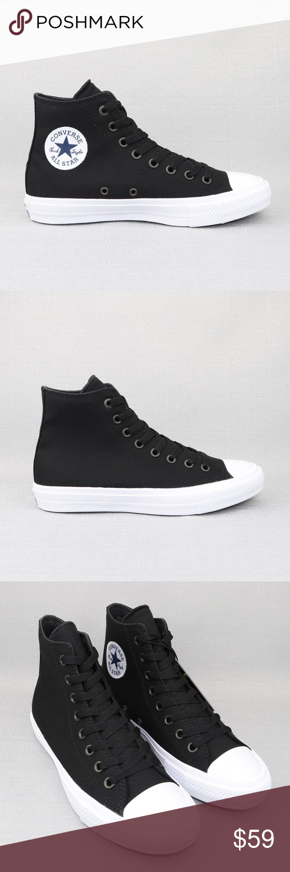 ee454954fff6 Converse Chuck Taylor All Star 2 High Black White Condition   New Without  Box Comes with additional white laces. If you have any questions