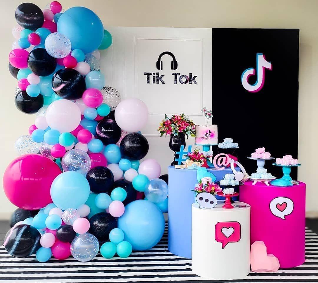 Tiktok Birthday Party Ideas Photo 1 Of 7 Dance Party Birthday Birthday Party For Teens Girls Birthday Party Themes