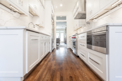 Galley Kitchen white shaker cabinets - Novo Kitchen and Bath #whiteshakercabinets