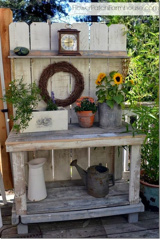 Potting Bench Decorated for Fall still no Mantel Bench, Gardens